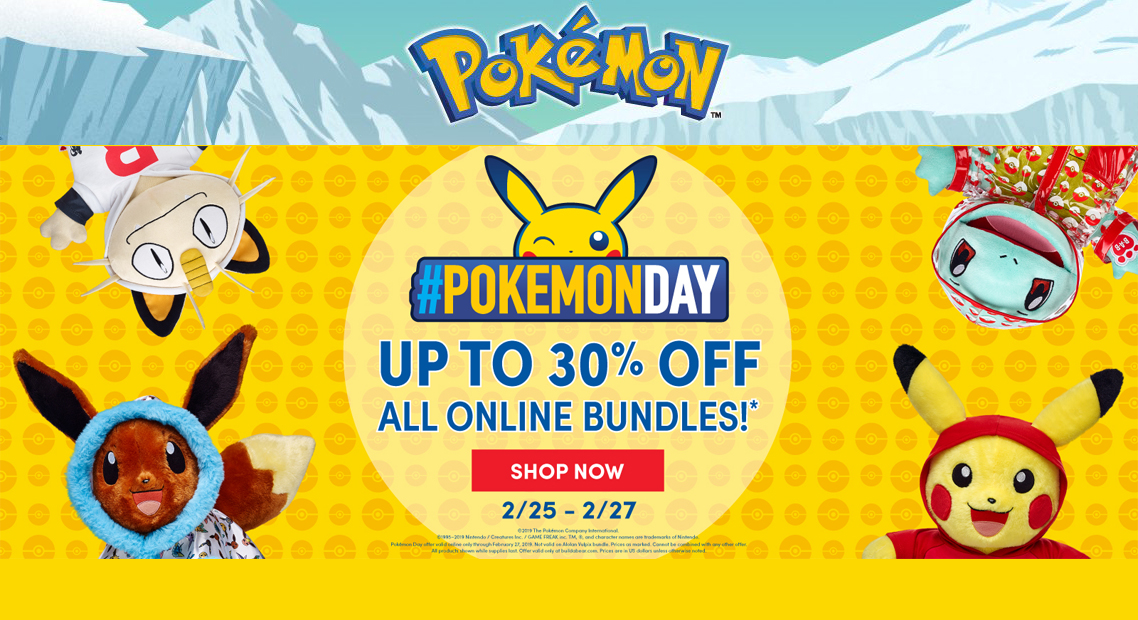 Build a Bear is Celebrating Pokemon Day with 30% Off - NERDBOT