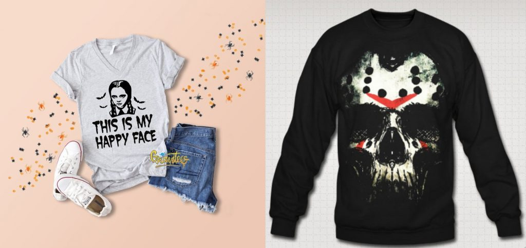 "two tee shirts. one has wednesday addams and the words ""this is my happy face"" and the other shirt is black sweatshirt with a skull that is painted like jason from friday the 13th."
