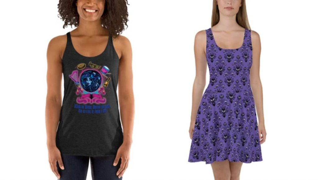 haunted mansion shirt with madame leota (blue fortune teller head in a glass ball) with instruments around. skater dress on the right has the haunted Mansion wallpaper. purple dress with black silhouette monsters all over the dress.