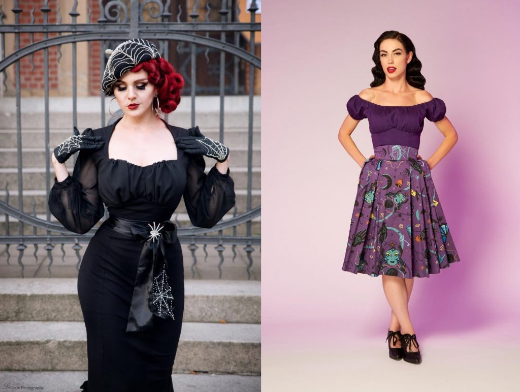 dress on left is retro black dress designed by elvira that has sheer black sleeves, black belt with spider and spider web embroidered. outfit on right is a purple peasant top with purple fortune telling skirt black moons, and black hands.