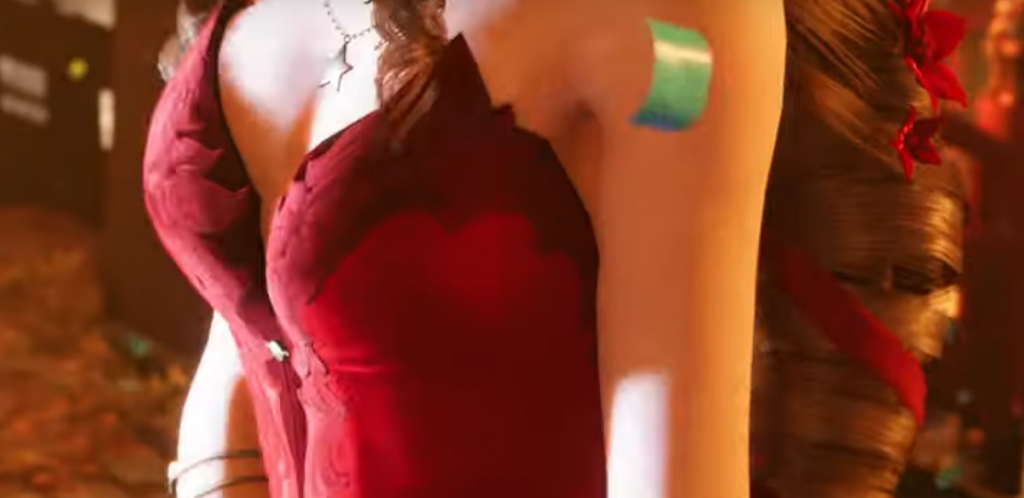 Get a peak of Aeris' sexy red dress.