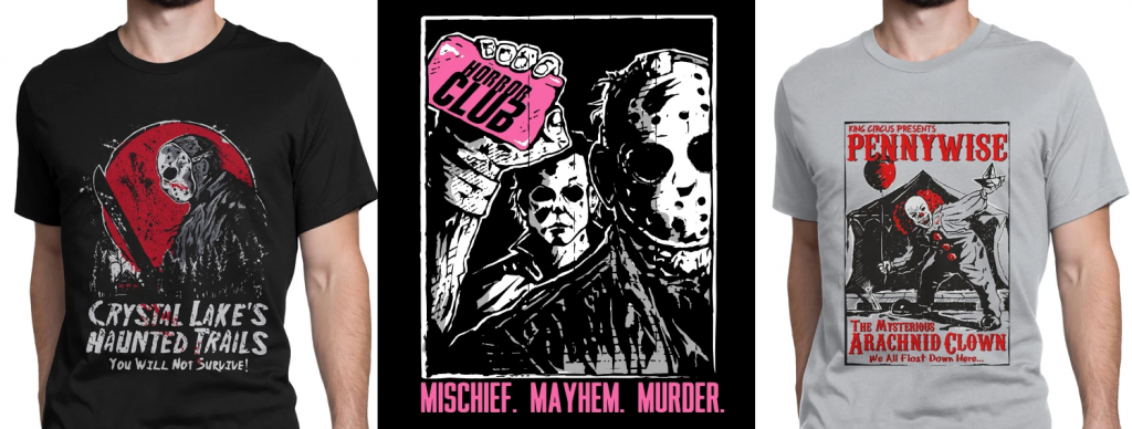 "Three tee shirts consisting of Friday the 13th's Jason, Michael Myers and Jason holding soap bar that says ""horror club"" with mischief, mayhem, and murder being the words under, and pennywise the clown from IT in a shirt that advertises his showcase at a carnaval."