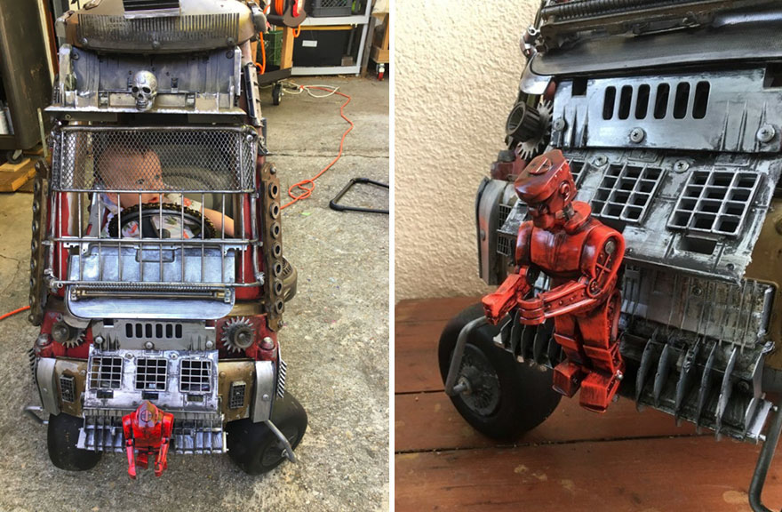 Benji gets a robotic looking attachment and a skull to his Mad Max-style Death Vehicle.