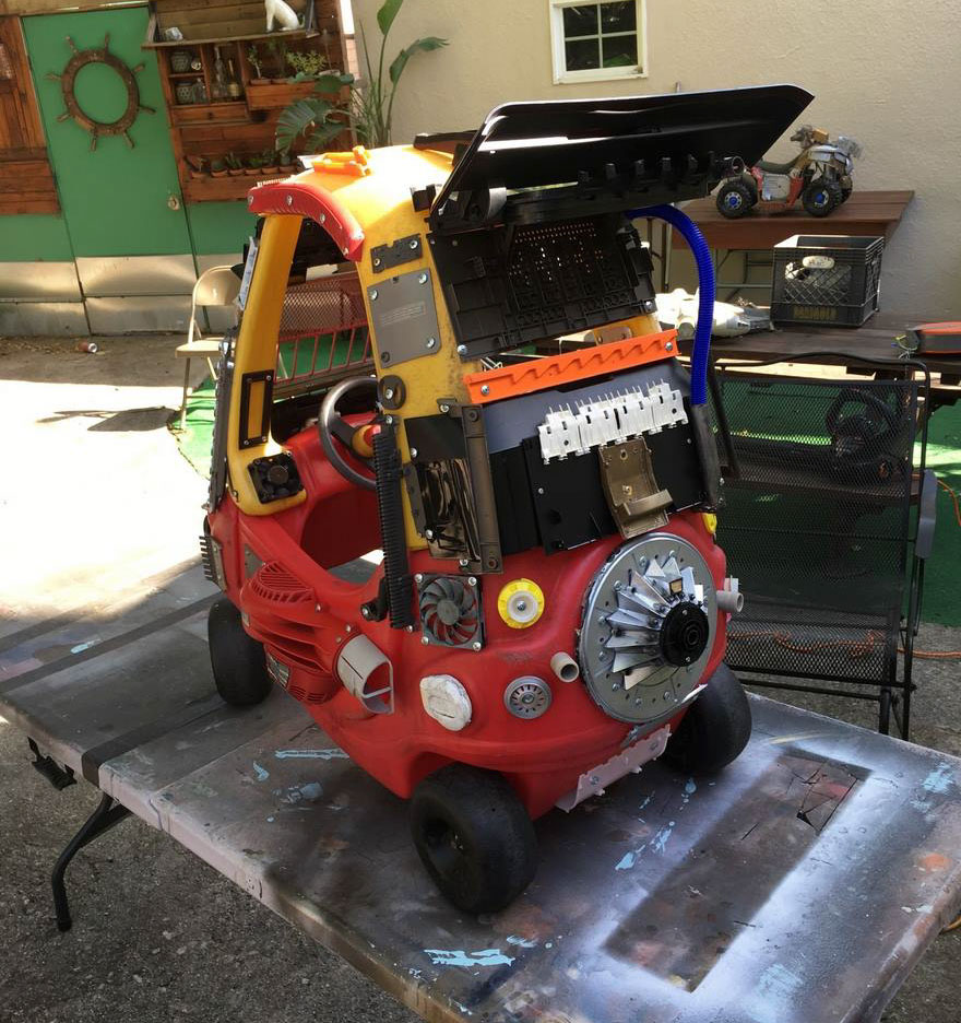 At first, this Mad Max for Little Tykes car just looks like a Little Tykes car with random stuff attached to it.
