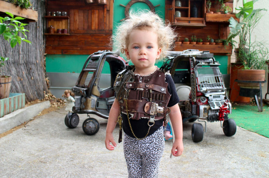 While Dad Ian worked on the Badass Cars, Mom Emily made some Post-Apocalyptic cosplays for her kids.