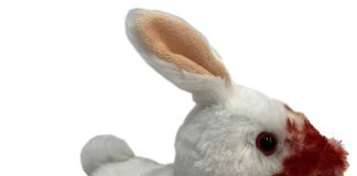 Monty Python and the Holy Grail's Killer Rabbit Plush. Get your Holy Hand Grenade of Antioch ready! We are warning you. He may bite your bum.