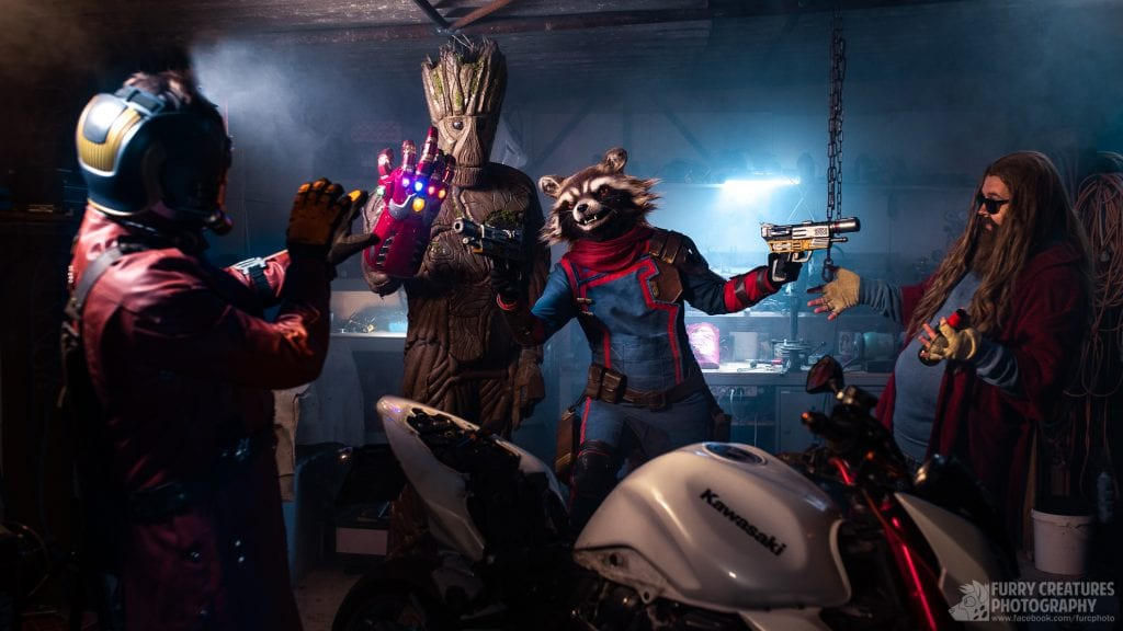 Starlord: Jorssk on the left of image Groot: Baretwan second in image with infinity gauntlet attached to ironman suit Rocket: me (Akela Taka) holding prop guns at star lord and thor Thor: Ikasu Taiki far right looking shocked
