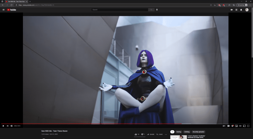 YouTube Channel Screenshot of Emily cosplaying Raven from Teen Titans