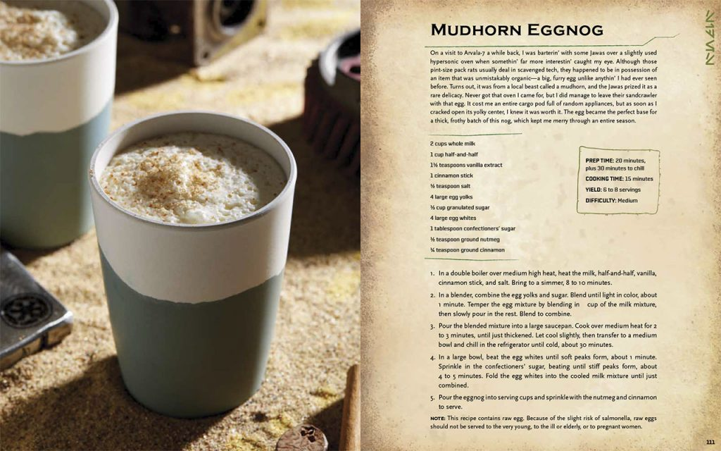 Mudhorn Eggnog recipe from the Star Wars Life Day Cookbook. Left: white and green cup with foamy beverage. Right: Recipe ingredients and instructions.